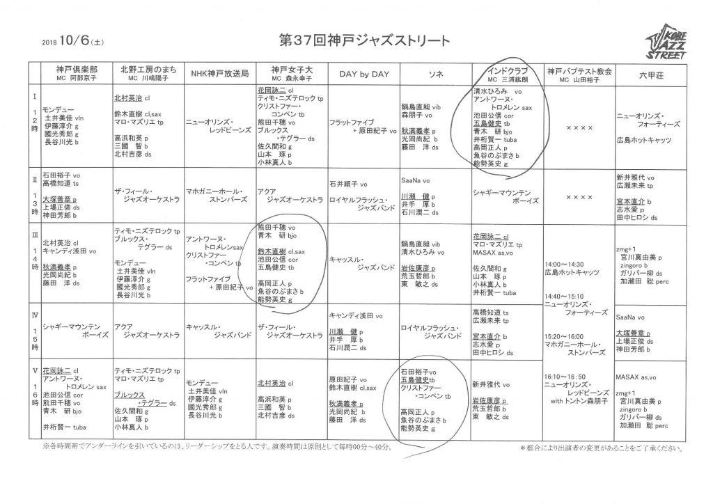 神戸ジャズストリート2018初日プログラム