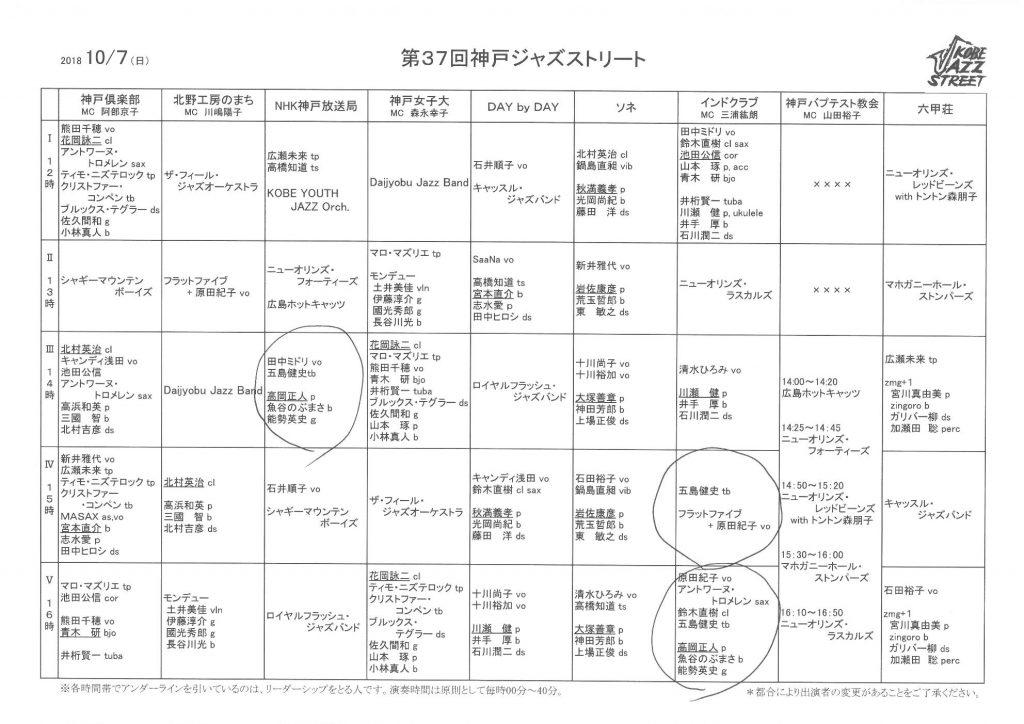 神戸ジャズストリート2018二日目プログラム